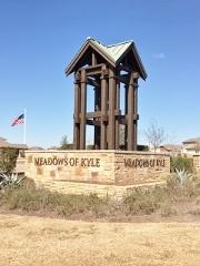 Sign at the entrance to the Meadows of Kyle community in Kyle, TX 78640.