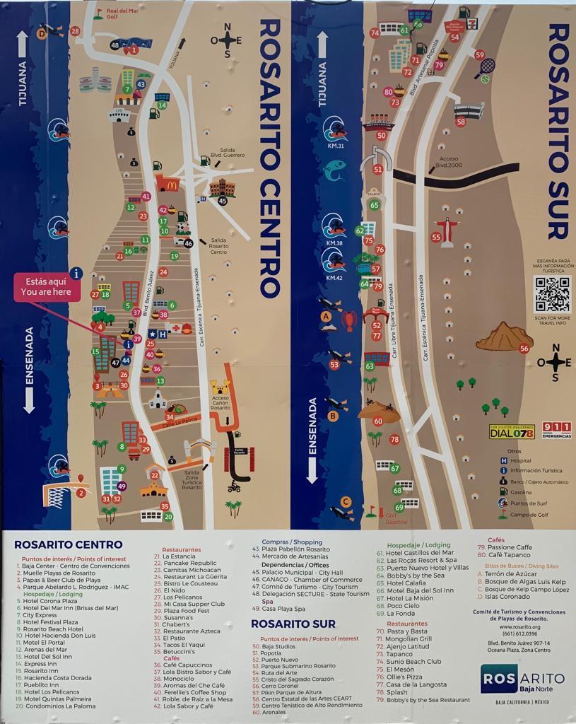Mapa de Rosarito Turístico con puntos de Interés