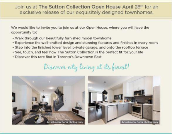 toronto east open houses for new town houses