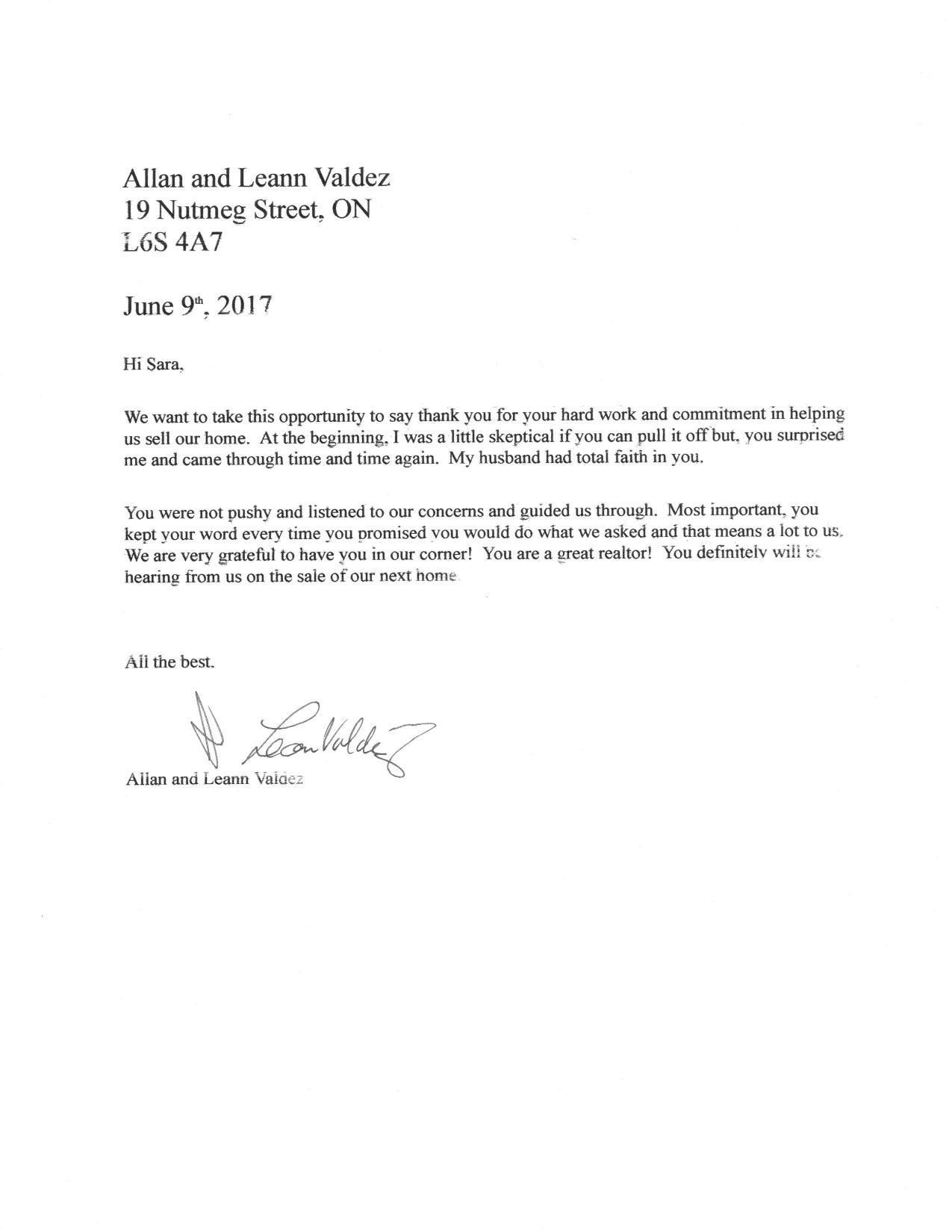 Client testimonial.Allan and Leann Valdez