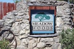 Sign at the entry to the Meadow Woods subdivision in Kyle, Texas.
