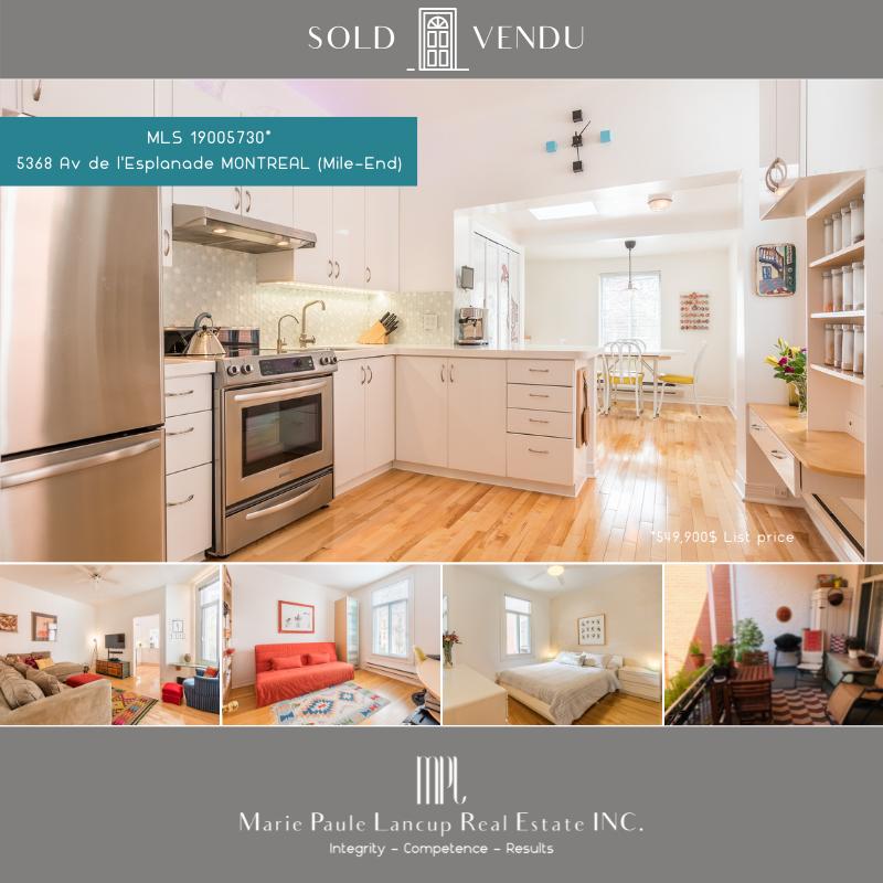 Marie Paule Lancup Real Estate Inc - 5368 Av de l'Esplanade MONTREAL (Le Plateau - Mile-End) - SOLD - VENDU