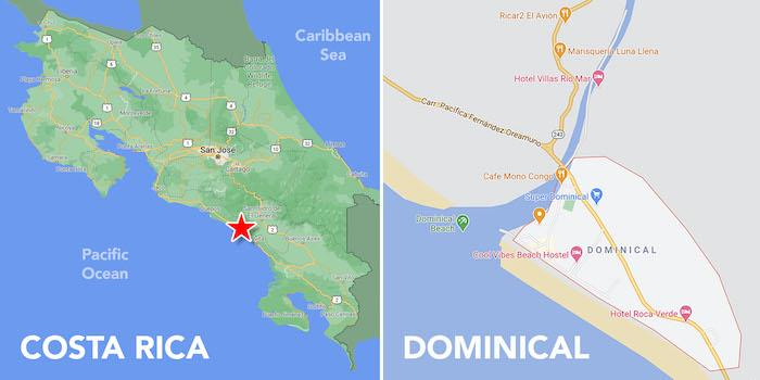 Location Map Dominical Costa Rica