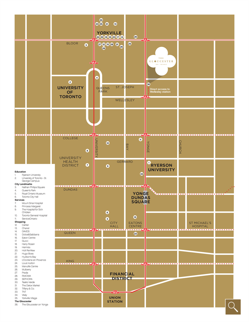 Gloucester on Yonge Site Map