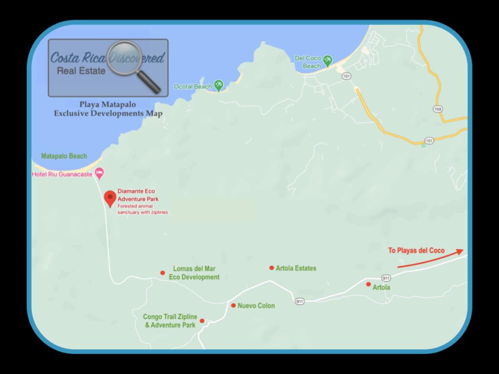 Playa Matapalo Exclusive Developments Map