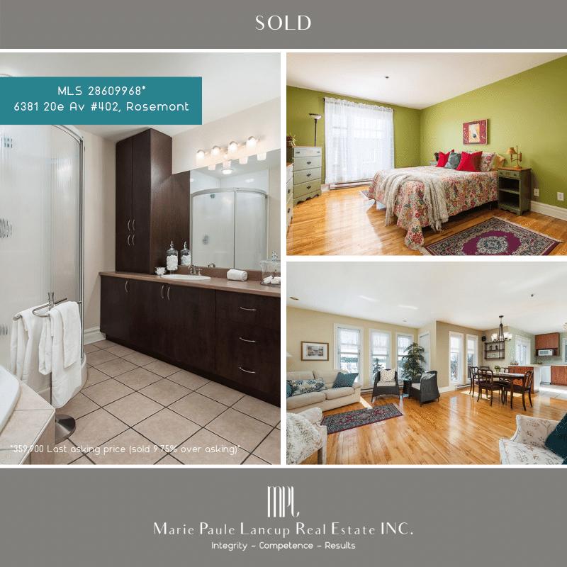 Marie Paule Lancup Immobilier Inc - VENDU SOLD 402-6381 20e Av ROSEMONT