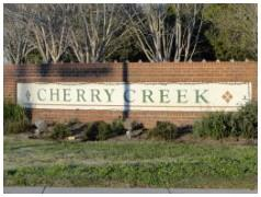 Sign at the entrance to one Cherry Creek section in South Austin 78748.