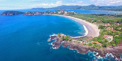 Aerial view of Flamingo Beach, Costa Rica.