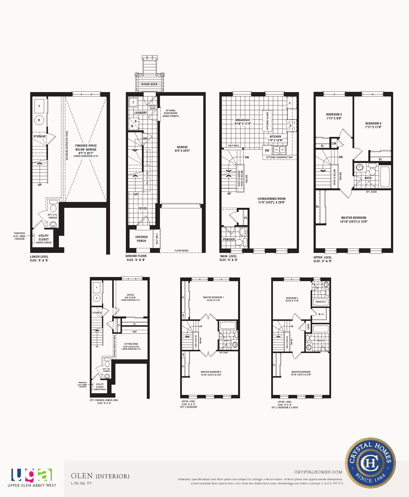 Upper Glen Abbey West Floor Plans