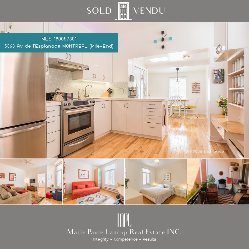 20210511  Marie Paule Lancup Real Estate Inc - 5368 Av de l'Esplanade MONTREAL (Mile-End) - SOLD - VENDU