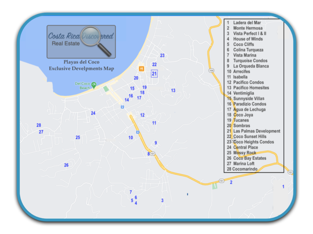 Playas del Coco Exclusive Developments Map