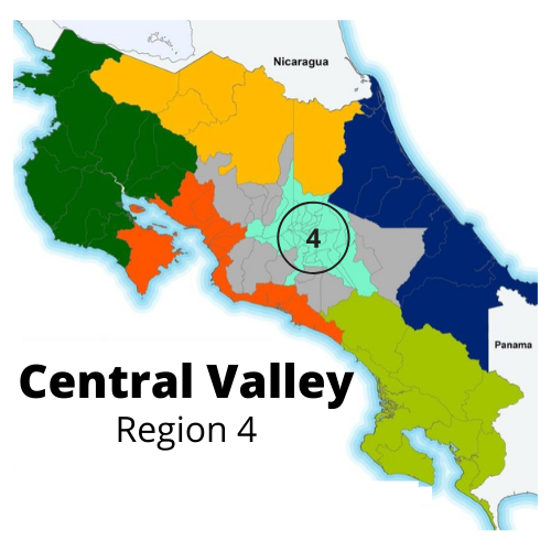 Map highlighting the Central Valley of Costa Rica