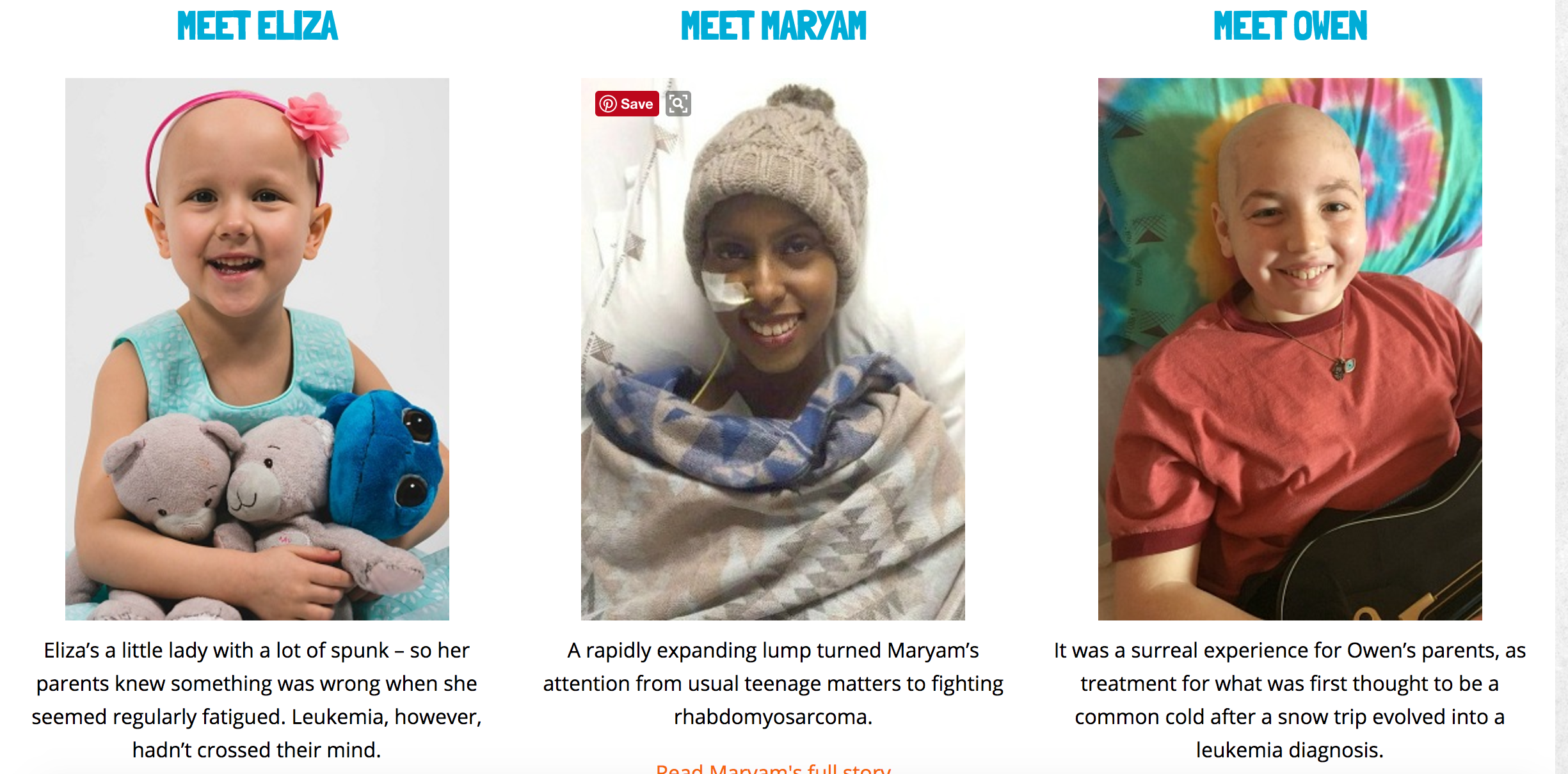 Who are we cycling for? Answer: kids like Maryam, Eliza and Owen - fighting cancer