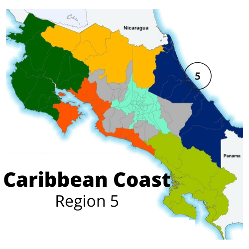 Map of the Caribbean Coast area of Costa Rica