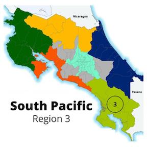 Map highlighting the south pacific region of Costa Rica