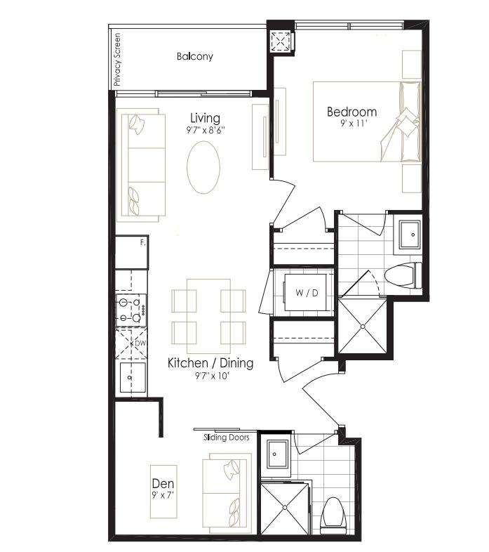 oro Amber one bedroom plus Den Floor plan
