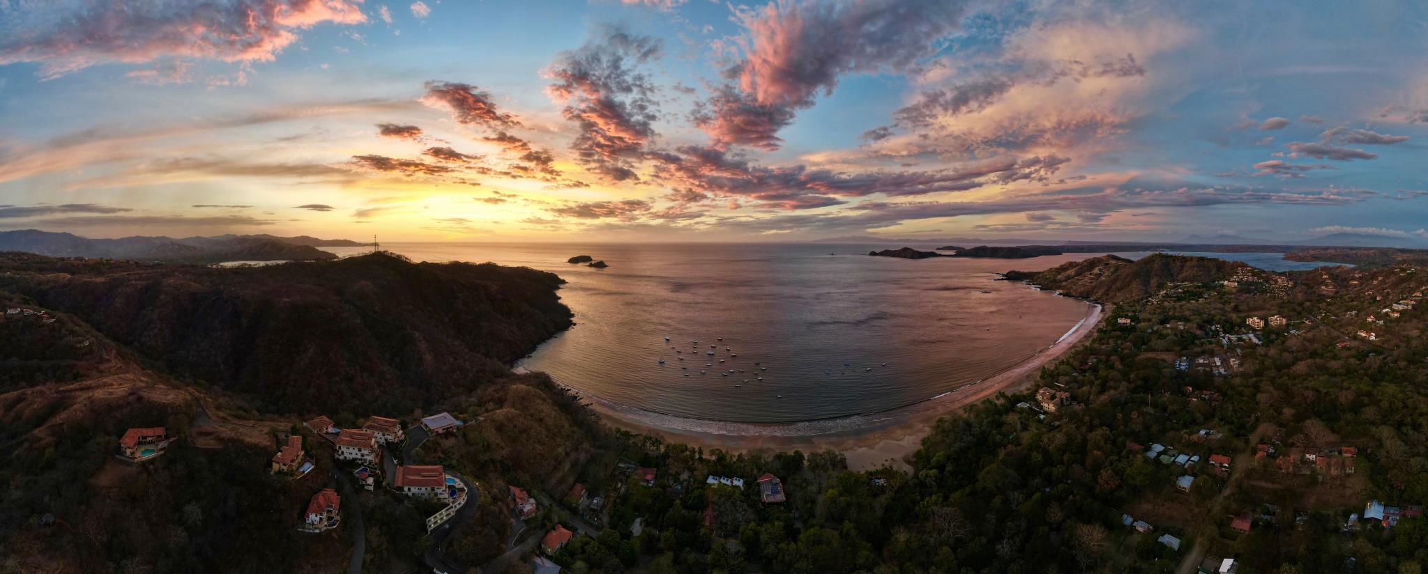 Sunset drone shot of Playa Hermosa