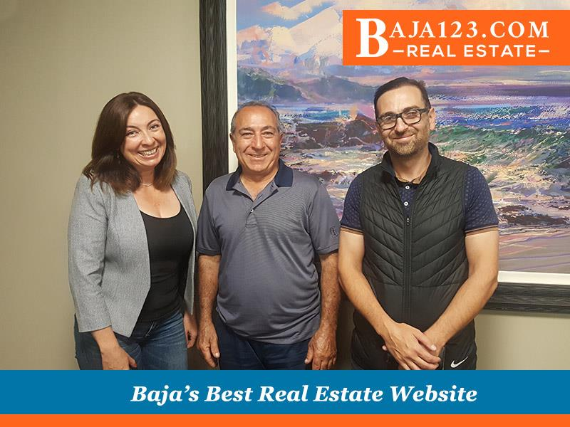 Claudia and 2 happy clients Closing a deal in Puerto Salina, Ensenada, Mexico