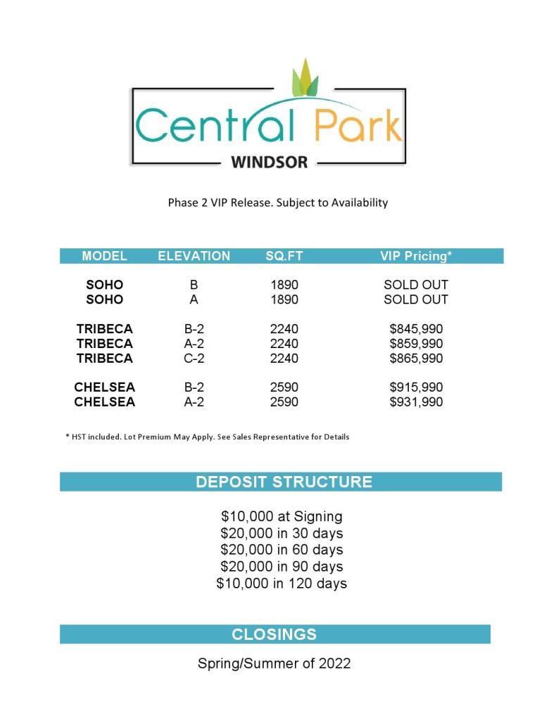 Central Park Price List