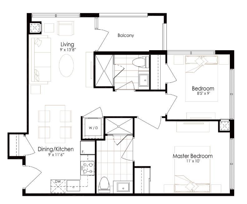 oro condos 2 bedroom floor plan pearl