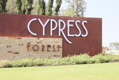 Sign at the entry to the Cypress Forest subdivision in Kyle, Texas.