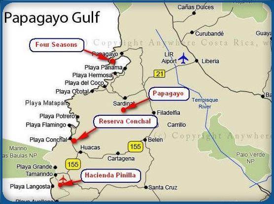Papagayo Golf Resorts Map