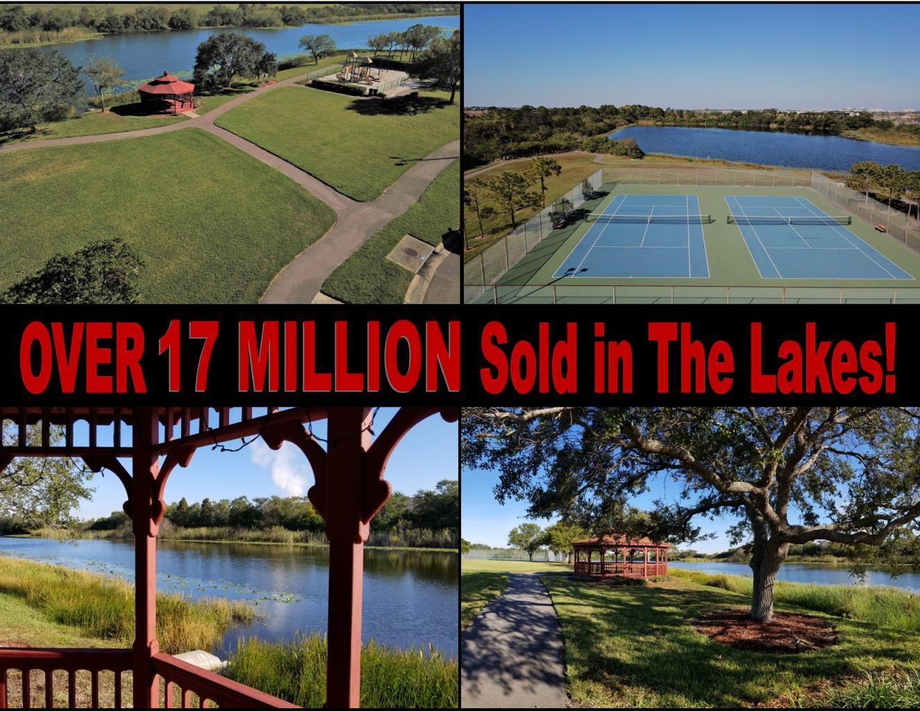 Over $17 Million Sold in Real Estate in The Lakes Clearwater Florida. Photos of Gazebo, tennis courts, and walking trail for Waterside at The Lakes