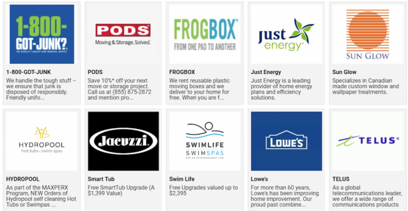 some of the retailers RE/MAX has exclusively partnered with: