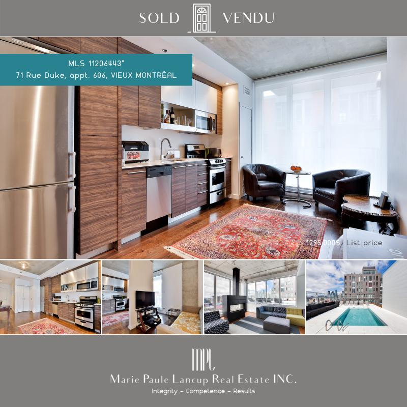 20210427  Marie Paule Lancup Real Estate Inc - 606-71 Duke St MONTREAL - SOLD VENDU