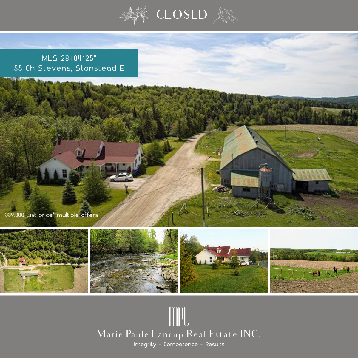 Marie Paule Lancup Real Estate Inc - 55 Ch. Stevens STANSTEAD East (Eastern-Townships) - Purchased Acheté