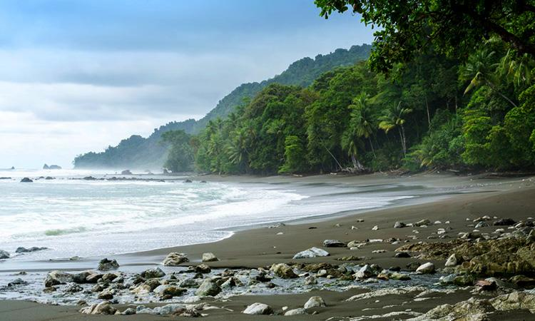 Mountains coming down to the beach at Dominical Costa Rica