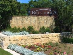 Sign at the US 290 entry to Southwest Austin's Belterra subdivision.