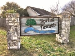 Sign at the entry to the Spring Branch subdivision in Kyle, Texas.