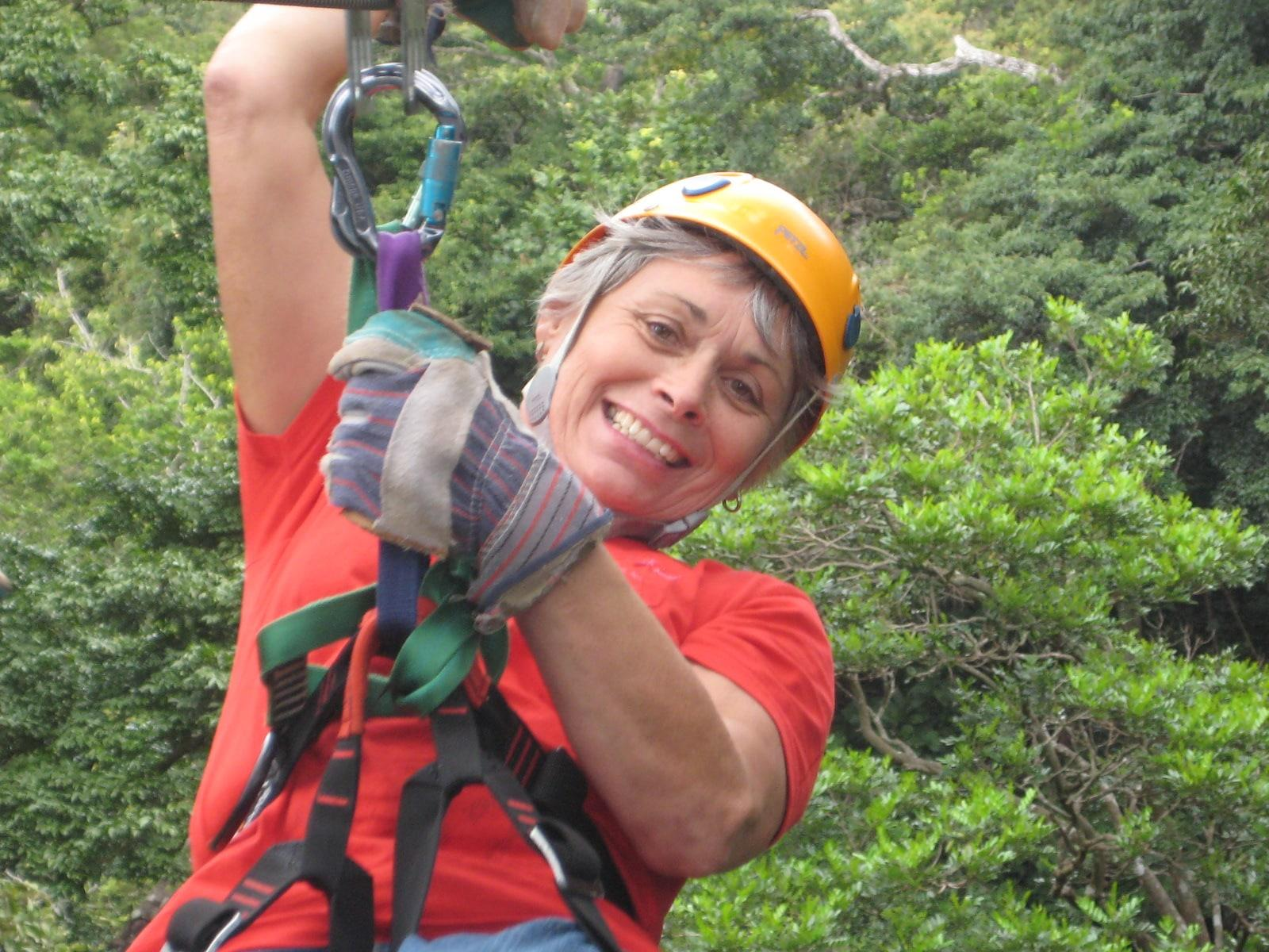 Donna DeMars at canopy tour in Costa Rica