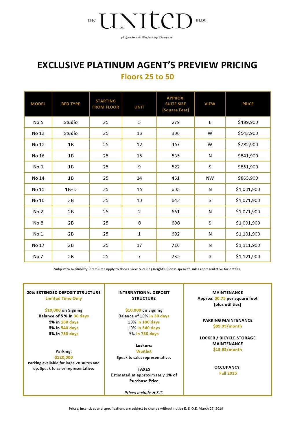 The United Bldg. Condos Price List