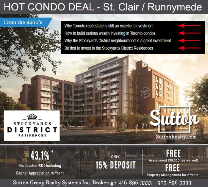 Stockyard District Condos St Clair and Runnymede from the $400's