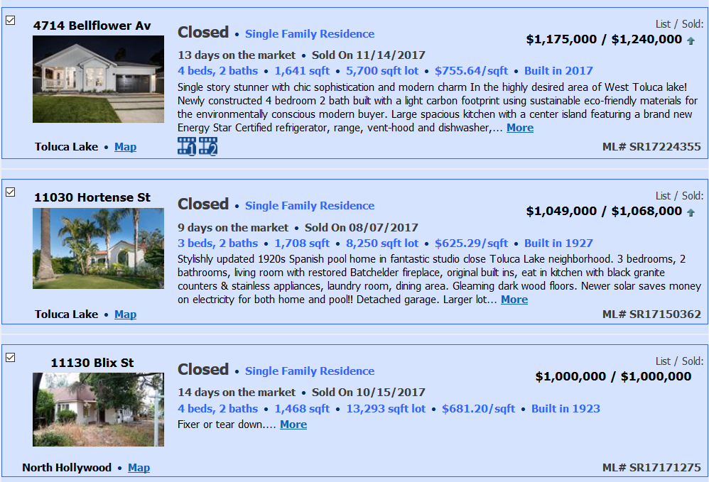 West Toluca Lake Home Prices