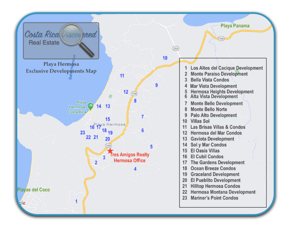 Playa Hermosa Exclusive Developments Map