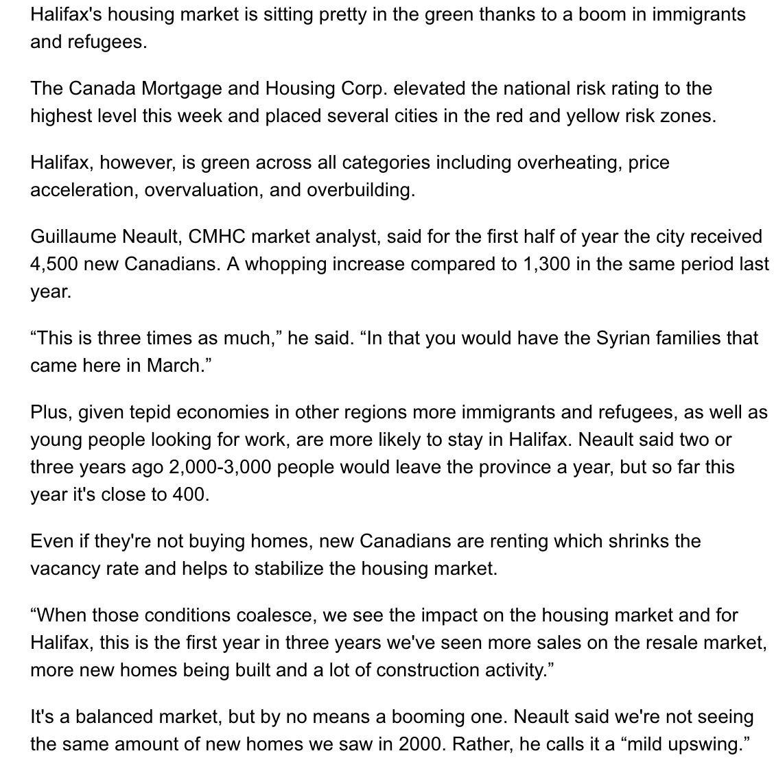 October 28th - Chronicle Herald - Halifax news story - immigration to Nova Scotia's impact on Halifax housing market