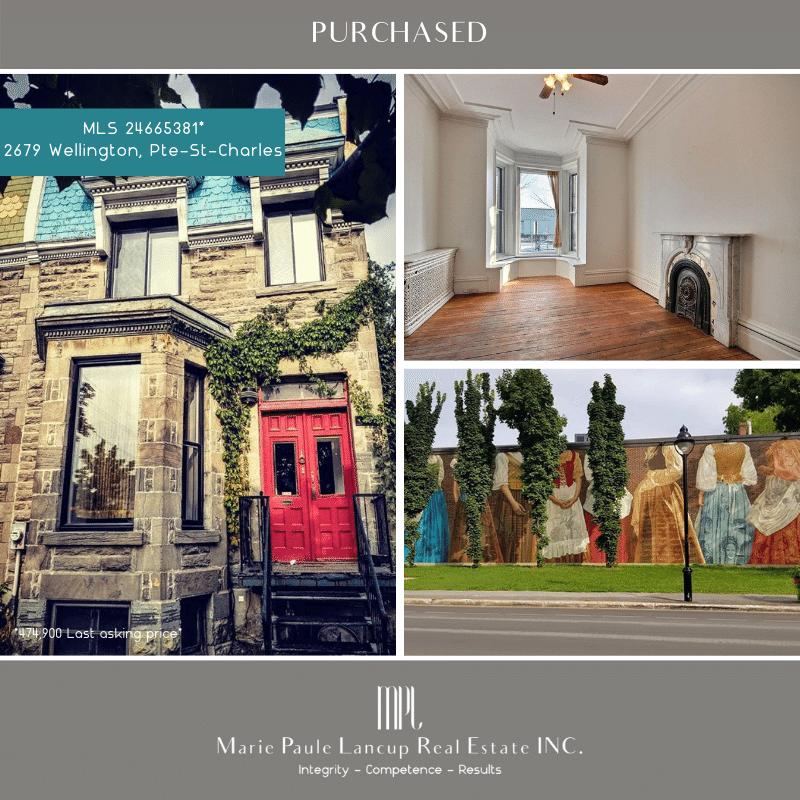 Marie Paule Lancup Real Estate Inc - 2679 Wellington St VERDUN - PURCHASED - ACHETÉ