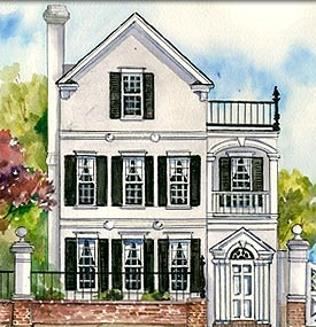 lovely white clapboard Charleston single style architecture