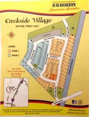 A view of the plat plan for homes in Creekside Village in Kyle