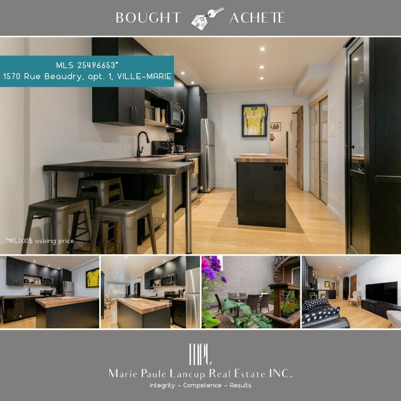 Marie Paule Lancup Real Estate Inc -1-1570 Rue Beaudry Bought-Acheté