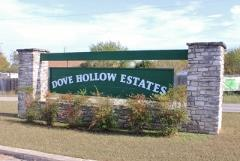 Sign at the entry to the Dove Hollow Estates subdivision in Kyle, Texas.