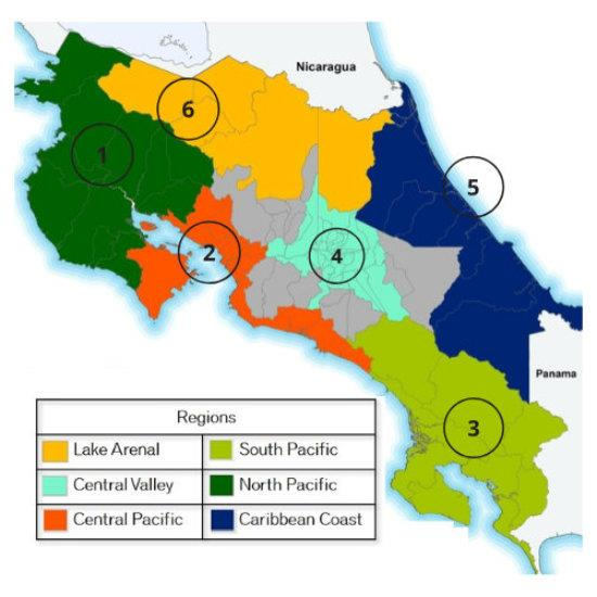 Map showing all real estate regions of Costa Rica
