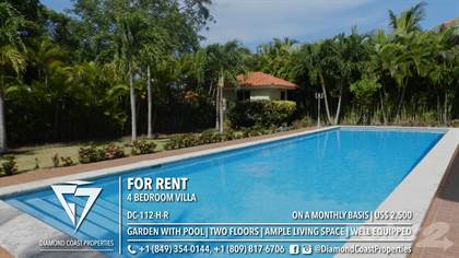 Residential Property for rent in Well equipped 4 bedroom two story villa | Terrace overlooking garden with pool, Cabarete, Puerto Plata