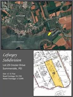Vacant Land for sale in Lot 29 Crozier Drive, Summerside, Prince Edward Island, C1N5S1