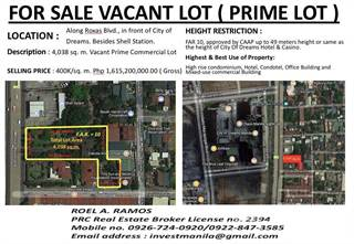 Residential Property for sale in ROXAS BLVD ACROSS CITY OF DREAMS, Paranaque City, Metro Manila