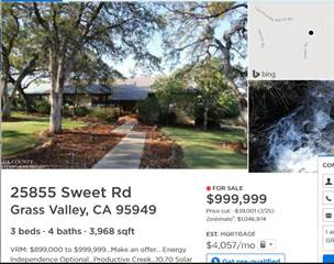 Residential Property for sale in 25855 SWEET RD. 10.7 A, Grass Valley, CA, 95949
