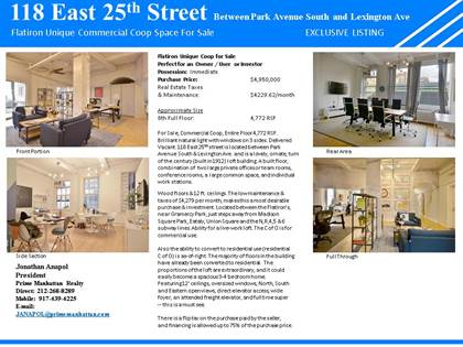 Office Space for sale in 118 East 25th Street, Manhattan, NY, 10010